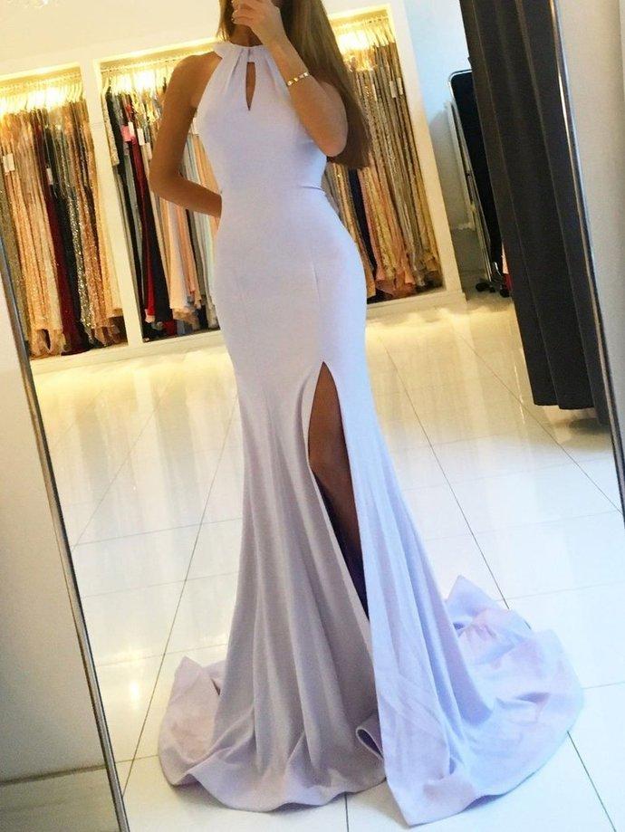 Lilac Prom Dresses Halter Prom Dresses Side Slit Prom Dresses Cheap Prom Dresses