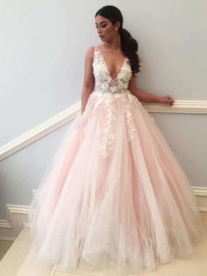 V-neck Prom Dresses Appliques Prom Dresses Blush Pink Prom Dresses Newest Prom