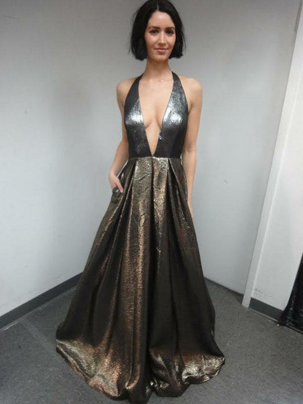 Deep V-Neck Long Prom Dresses A-line Prom Dresses Cheap Prom Dresses F6932
