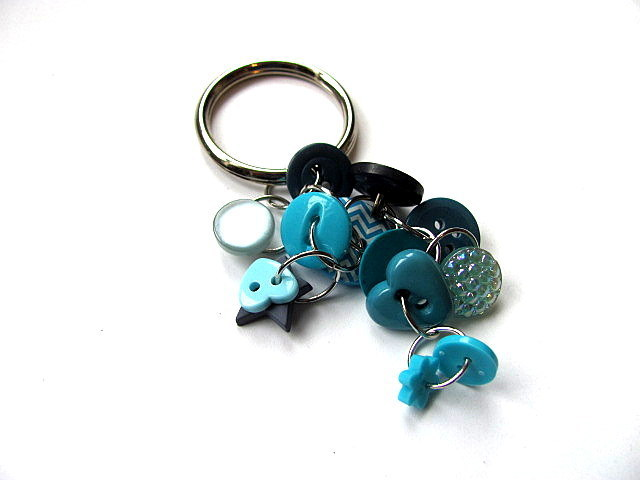Blue Button Key Ring Key Chain