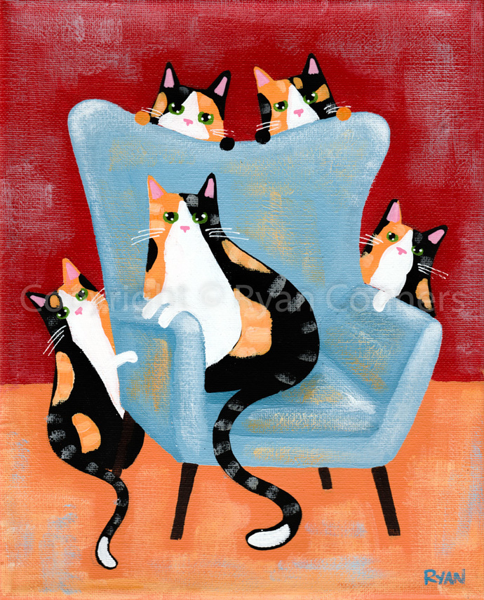 The Calico Cats and the Blue Chair Original Folk Art Acrylic Painting
