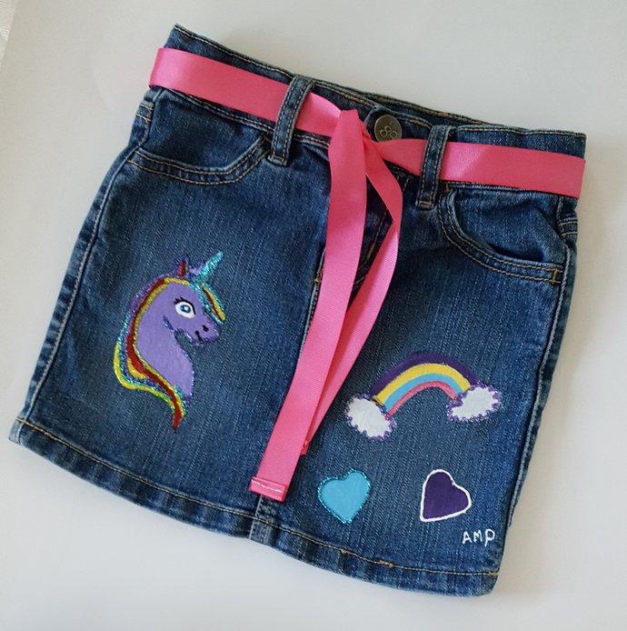 Girl's Denim Skirt - Unicorn - Hand Painted Upcycled Girl's Denim Skirt - Hand