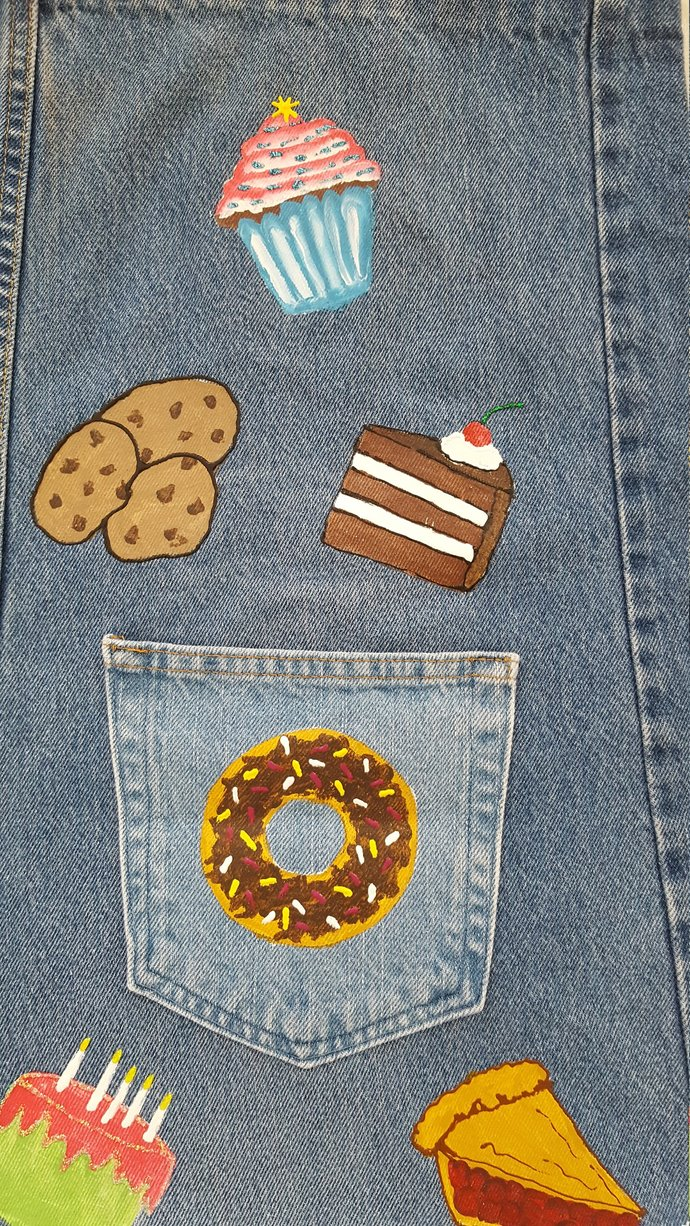 Full Apron, Handmade and Hand Painted Recycled Denim, Bakery Goodies, Adult