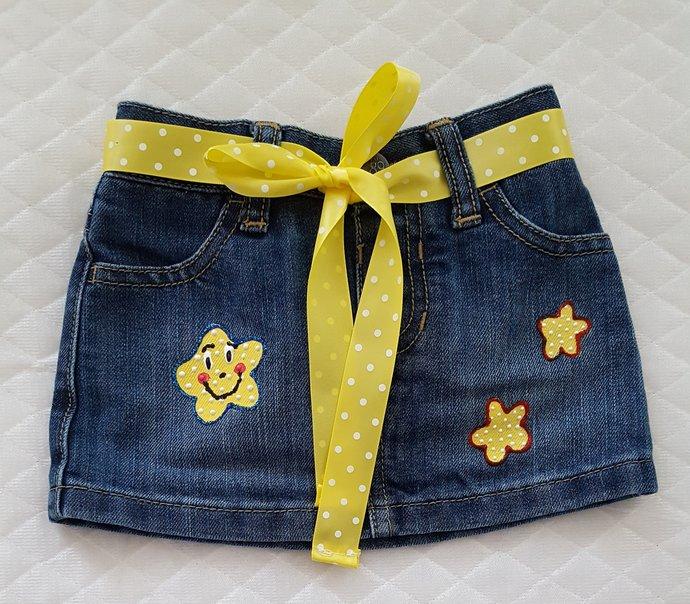 Baby's Denim Skirt, Hand Painted Happy Face Stars, Baby's First Denim Skirt,