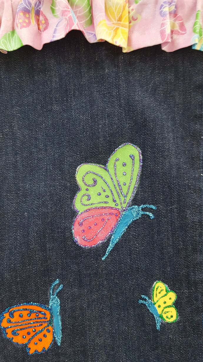 Child's Full Apron, Recycled Denim, Handmade and Hand Painted , Butterflies