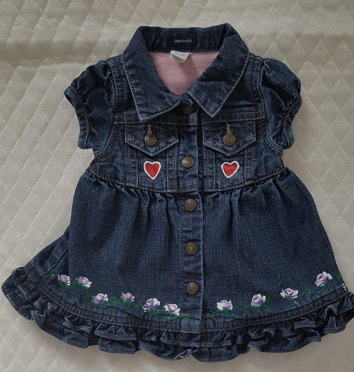 Newborn Denim Dress, Denim Dress, Hand Painted Purple Rosebuds, Upcycled Denim