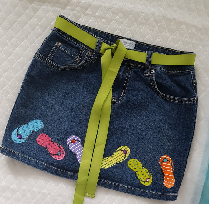 Girl's Denim Skirt, Hand Painted Flip Flops, Glam and Glitter, Size 12 Girl's,