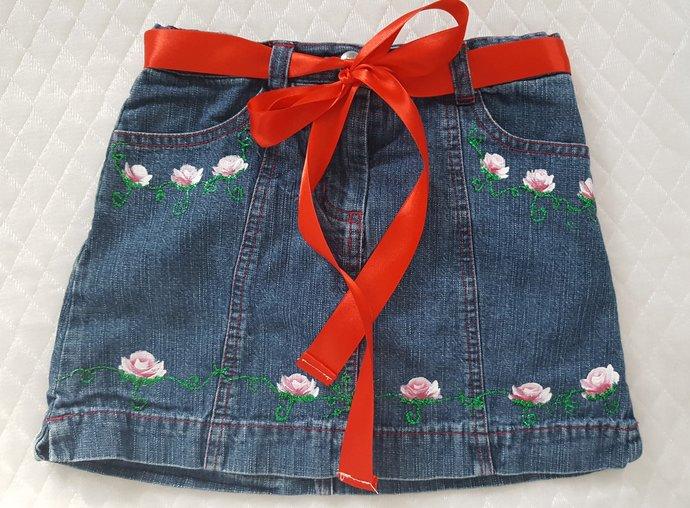Girl's Denim Skirt -Pink Rosebuds - Upcycled Girl's Hand Painted Denim Skirt -