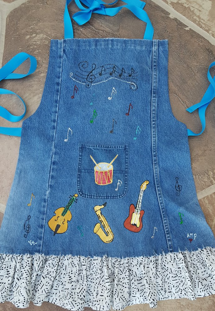 Full Apron, Hand Painted Denim, Musical Instruments, Adult Size