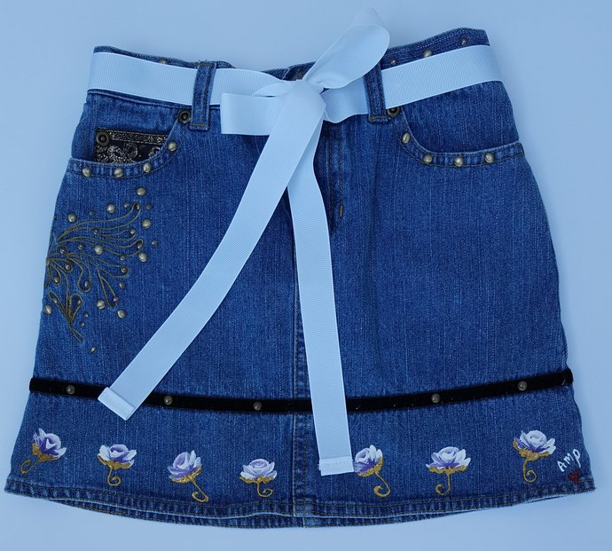Girl's Denim Skirt, Hand Painted Purple and White Rosebuds, Size 6X, Great