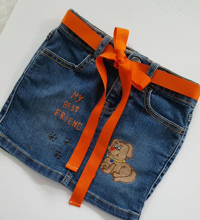 Girl's Denim Skirt - Hand Painted with Cute Dog - Best Friend - Girl's Jean