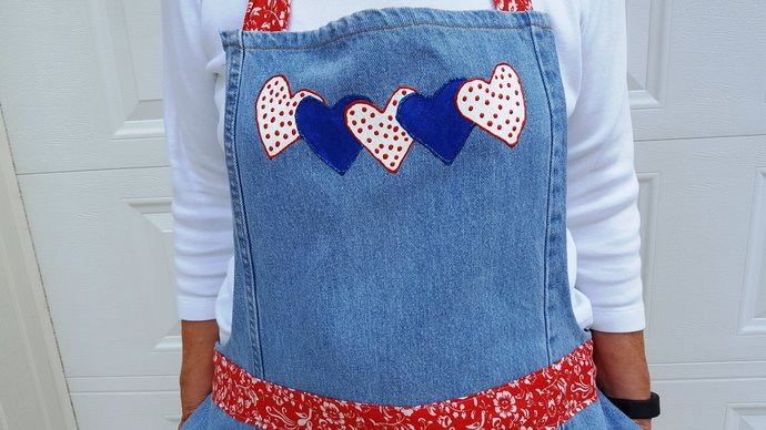 Full Apron, Red White and Blue, Patriotic Apron, Large Apron, Recycled Denim
