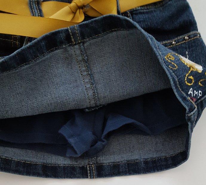 Girl's Denim Skirt, Hand Painted Upcycled Denim Skirt, Hand Painted Silver and