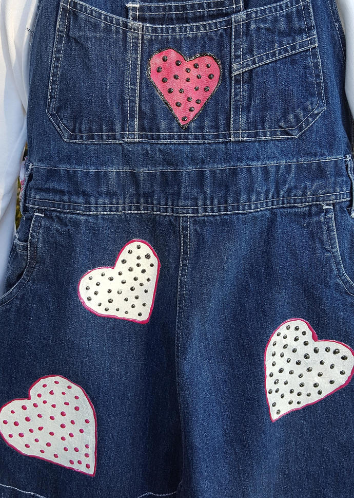 Full Apron, Hand Painted Recycled Denim Apron,  Colorful Polka Dot Hearts, Large