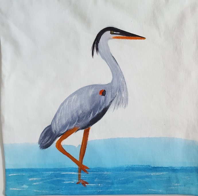 Decorative Pillow Cover, Handmade and Hand Painted Blue Heron Decorative Pillow