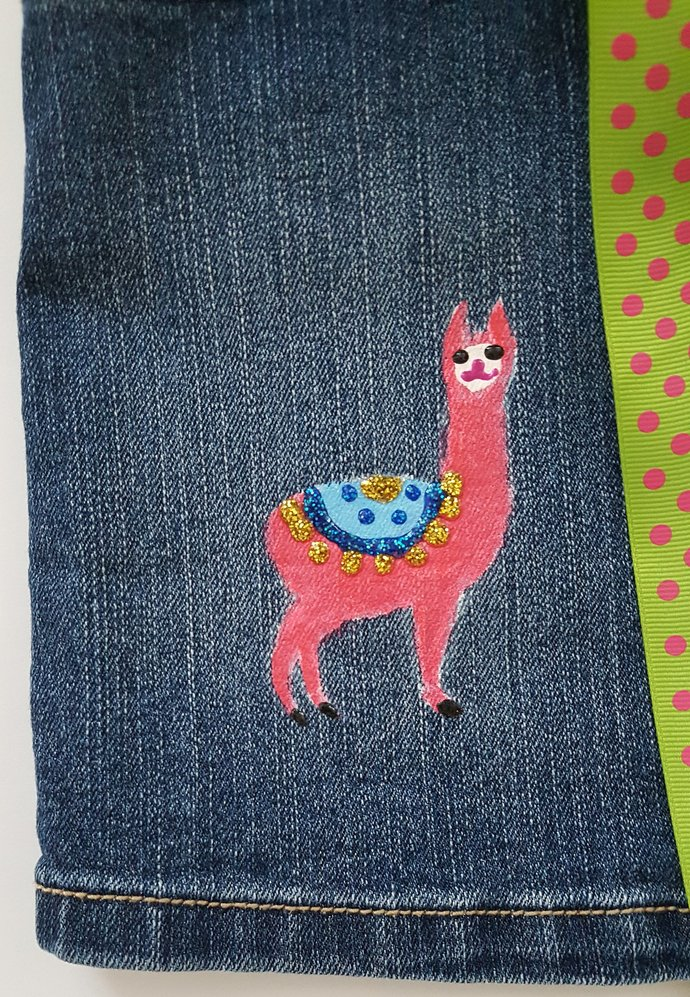 Girl's Denim Skirt - Hand Painted Llamas - Upcycled Denim Skirt- Jean Skirt -