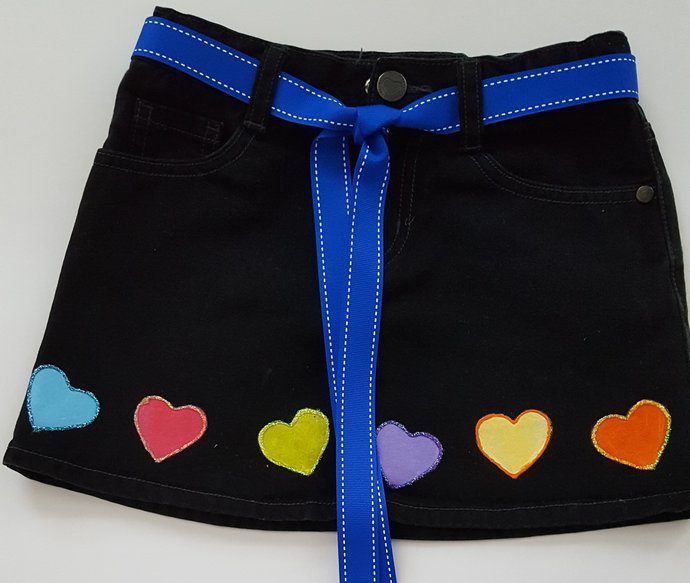 Girl's Denim Skirt, Upcycled Black Denim, Colorful Hand Painted Hearts,