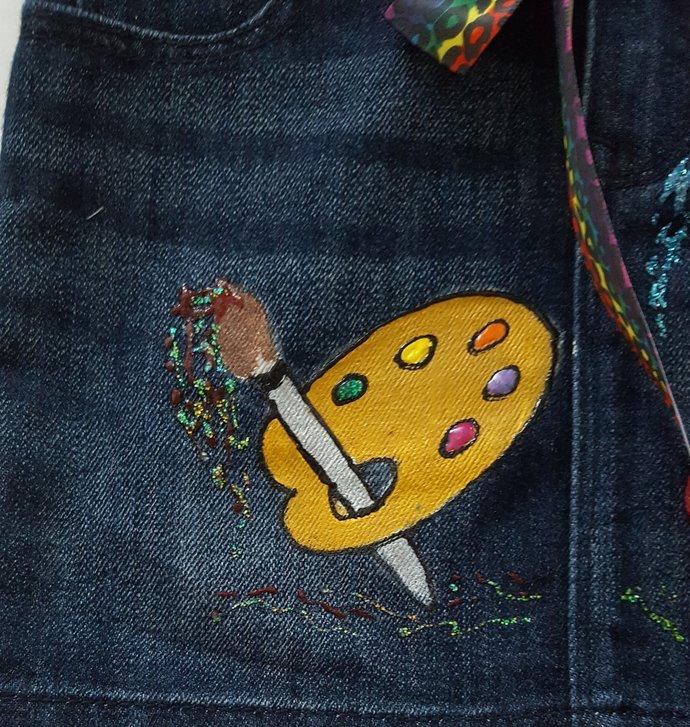 Girl's Denim Skirt, Hand Painted Art Tools, Art Lover's Skirt, Paint Brushes,