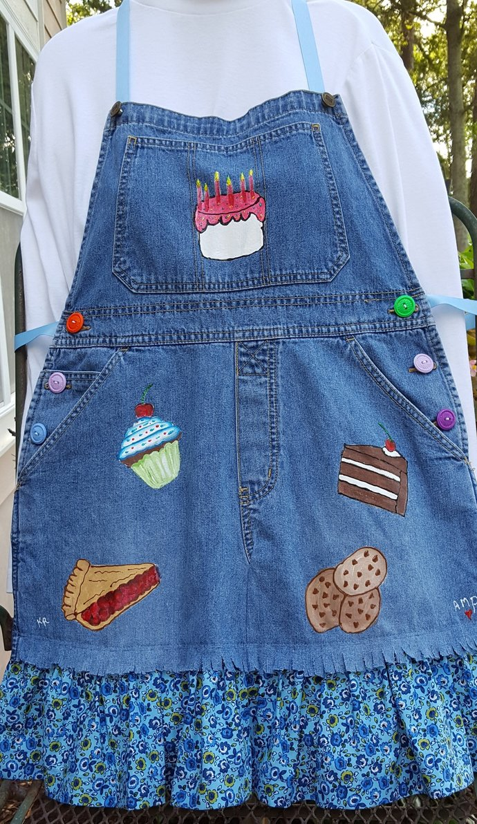 Full Apron, Upcycled Denim Hand Painted Apron, Many Sweets, Bakery Theme ,