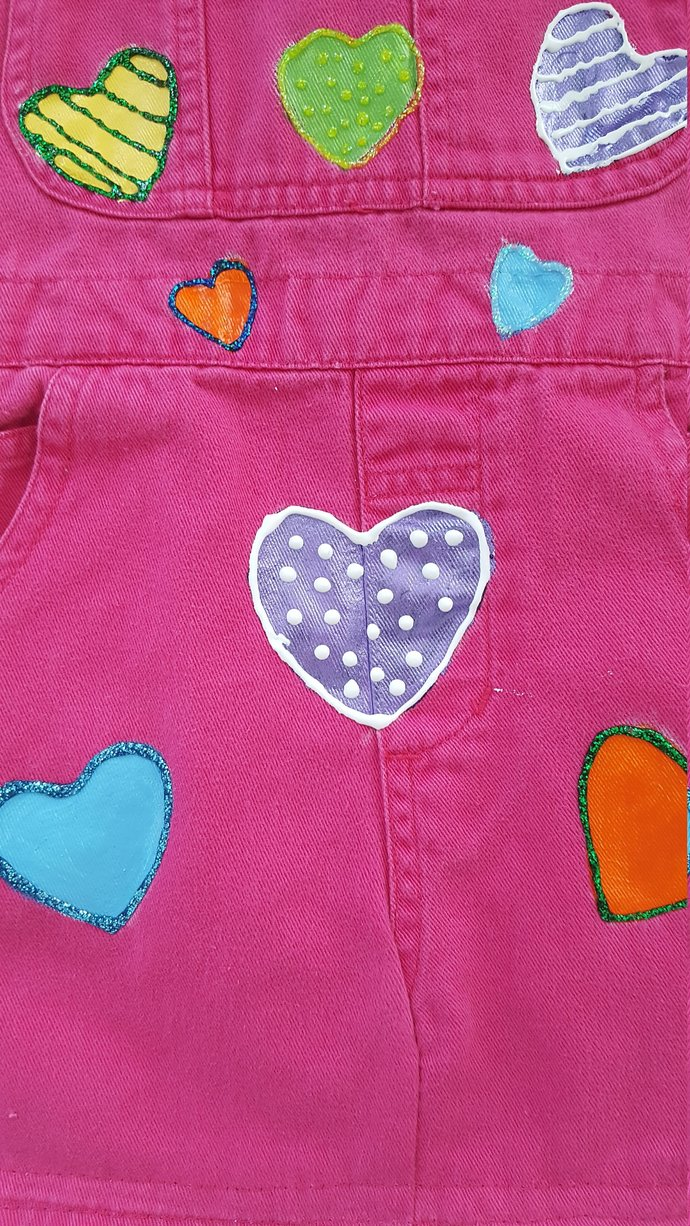 Child's Full Apron, Handmade and Hand Painted, Recycled  Pink Denim , Colorful