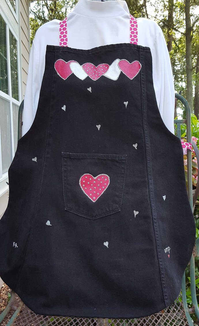Full Apron,  Black Recycled Denim Apron, Handmade and Hand Painted Apron, Pink