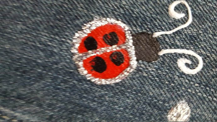 Girl's Full Apron, Handmade and Hand Painted, Ladybugs, Recycled Denim Apron,