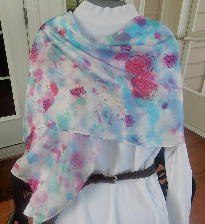 """Silk Scarf - Roses Galore - Hand Dyed Silk Scarf - 15"""" x 60"""" - Great Gift Idea -"""
