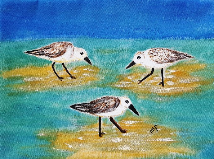 Decorative Pillow Cover - Sandpipers - Handmade and Hand Painted Decorative