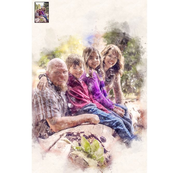 Custom Family/Group Portrait, Watercolor, Transform Portrait to Artwork,Custom
