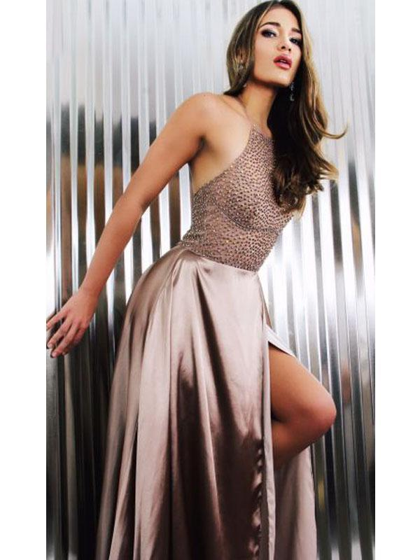 Halter Beaded Long A-line Side Slit Prom Dresses, Simple Prom Dresses