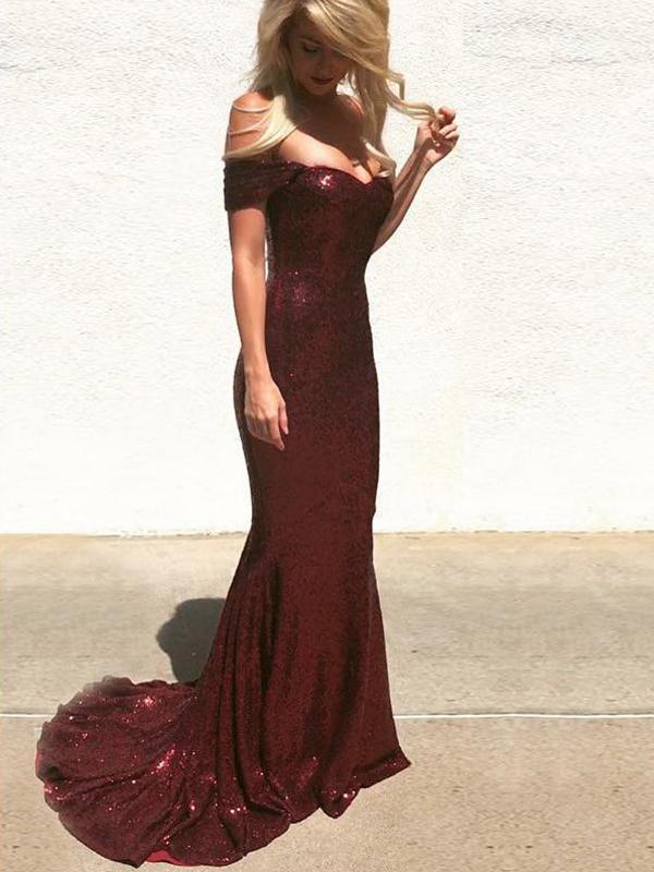 Off Shoulder Prom Dresses, Mermaid Prom Dresses, Sequin Bridesmaid Dresses F2825