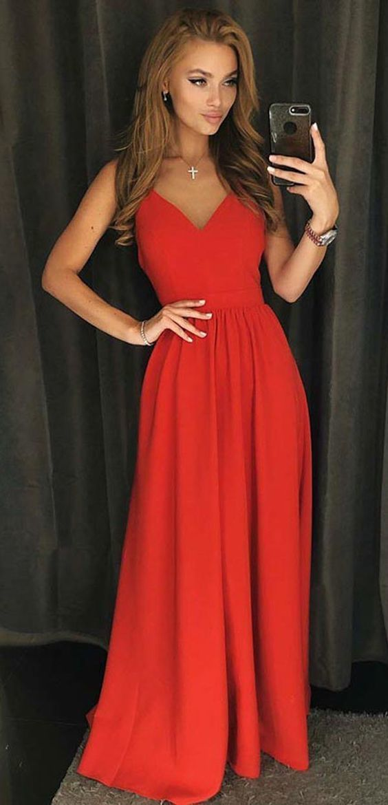 A-Line V-Neck Backless Satin Floor Length Red Satin Prom Dress