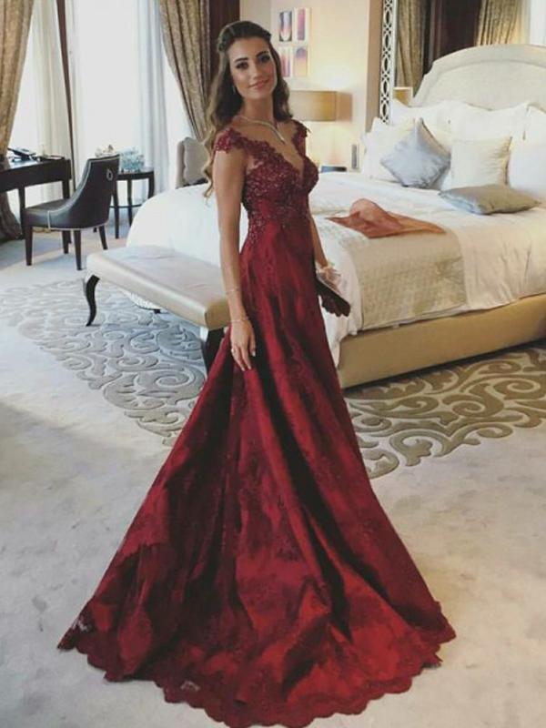Appliques Satin Prom Dresses A-line Prom Dresses Popular Prom Dresses F1859