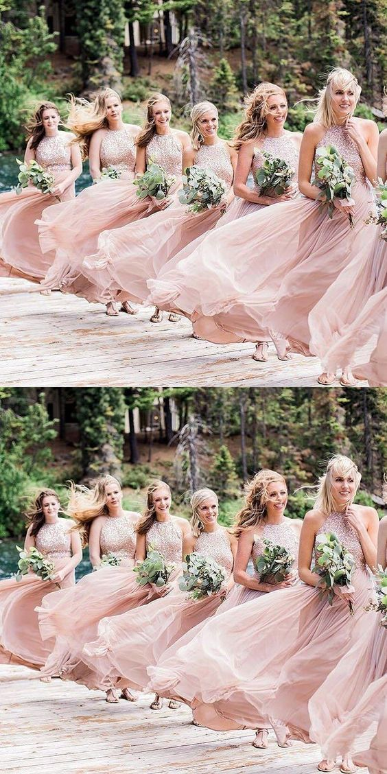 A-Line Halter Sweep Train Pink Chiffon Bridesmaid Dress with Sequins