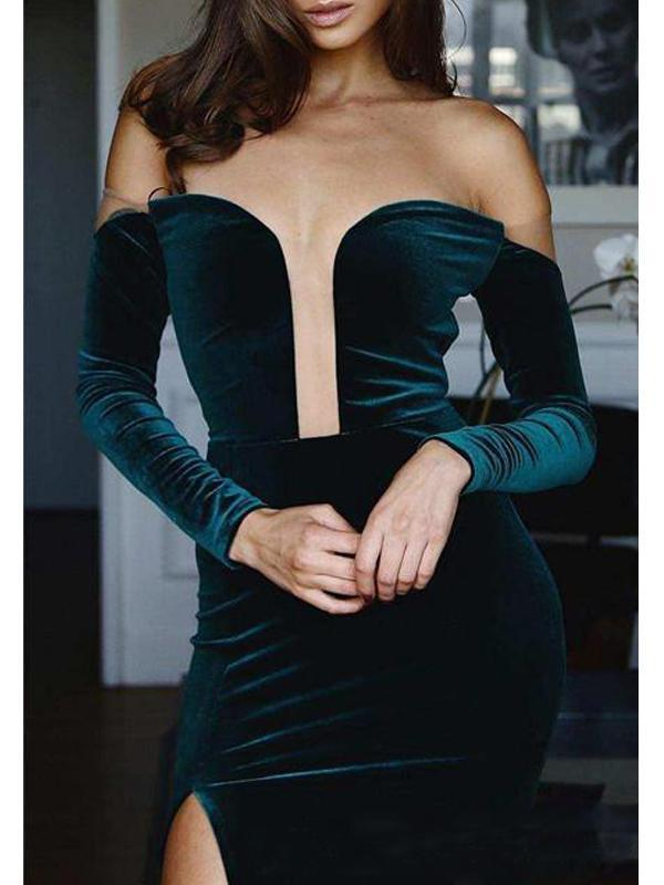 Off Shoulder Dark Green Long Sleeves Prom Dresses Velvet Prom Dresses S5896