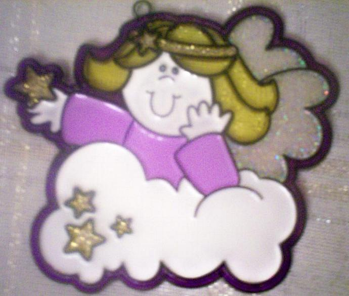 Hand Painted Angel Sun Catcher Handmade with Free Suction Cup Hanger