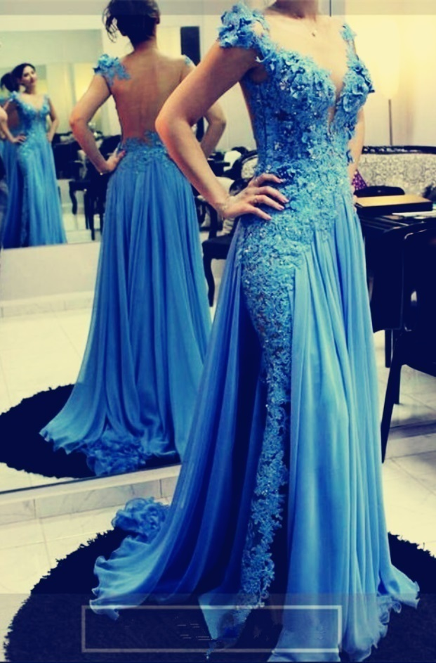 Sexy Appliques Lace Blue Long Prom Dresss with Slit, Charming Evening Party