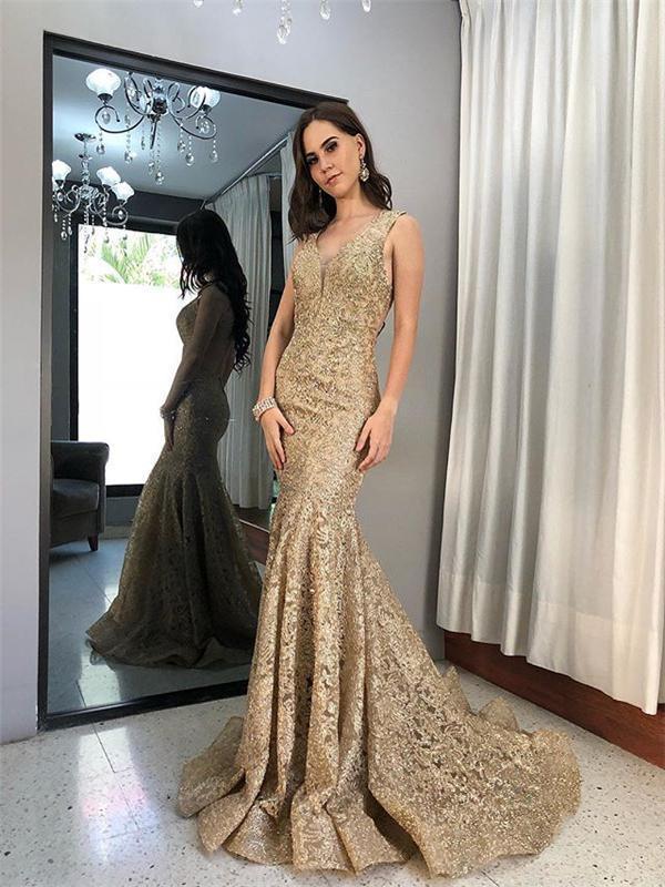 Sleeveless Long Mermaid Gold Lace Prom Dresses, Popular Prom Dresses D2950