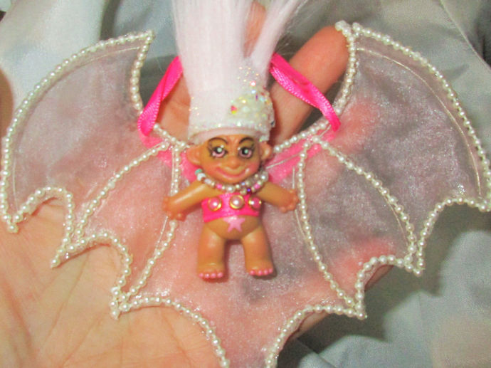 PINK CRYSTAL BAT Troll OOAK doll custom pencil topper 1.5 inch 5x6 wings hangs