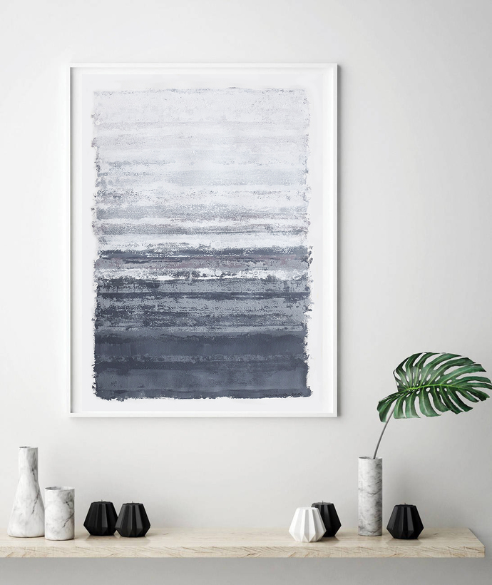 Acrylic on paper, original painting large, lines abstract artwork, gray white