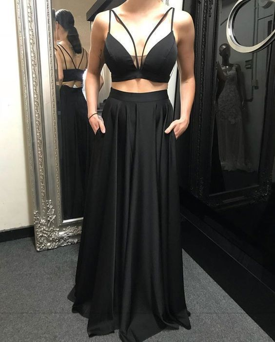 bab75707294 Charming Simple Sexy Black Two Piece Prom by RosyProm on Zibbet