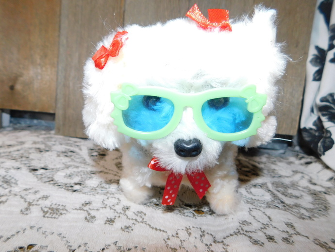 Walking Little Dog with Cool Green Sun Glasses, Small Walking Dog, Battery