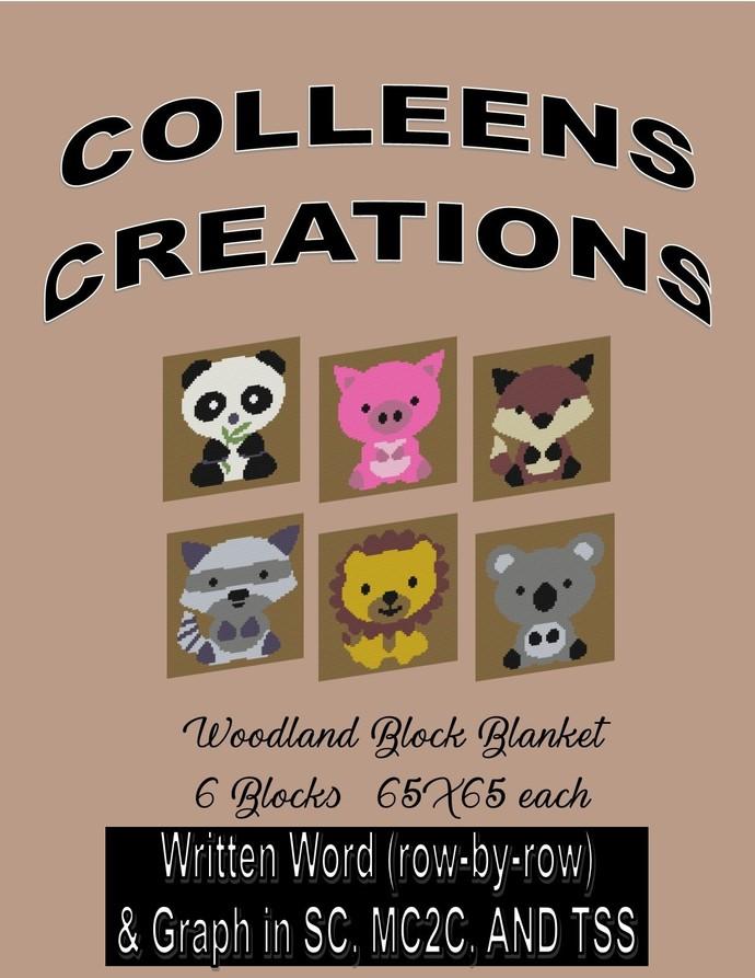 Woodland Block Blanket Crochet Written & Graph Design