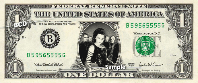 EVANESCENCE Music Band on REAL Dollar Bill Cash Money Bank Note Currency Dinero