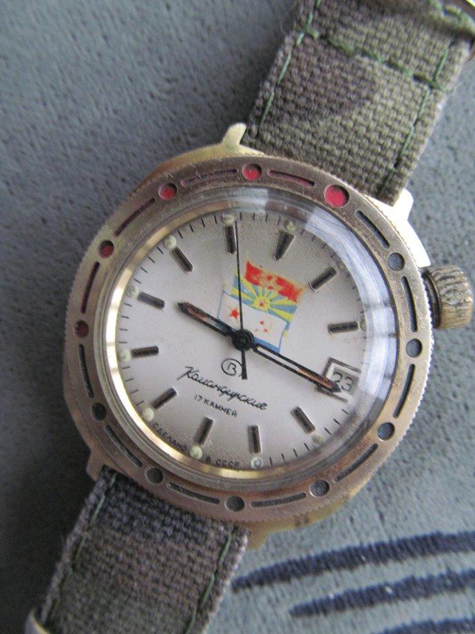 men's watch VOSTOK komandirskie 17 jewels military flags Soviet Union/hand watch