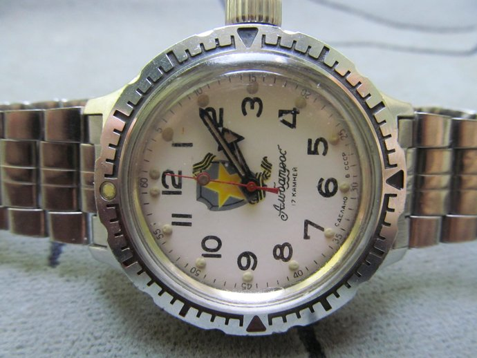 Men's watch VOSTOK Albatros yellow star on shield/hand watch WOSTOK  amphibian