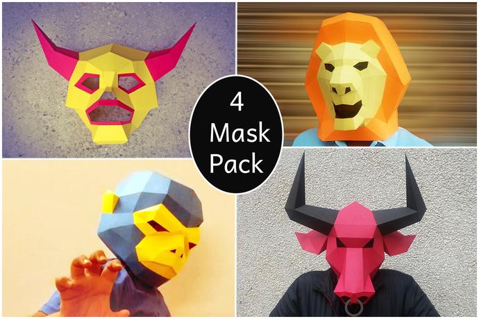Halloween,DIY Mask,Party Mask Papercraft,Monkey Mask,Bull Mask,Lion  Mask,monster Mask,Halloween Mask,Paper mask,Fancy costume,Printable mask