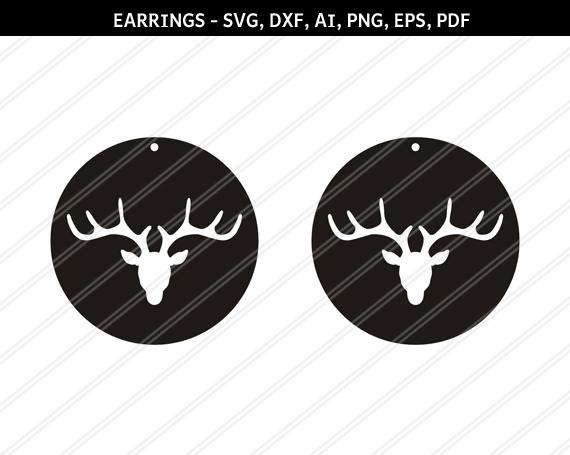 Deer Earrings Svg Reindeer Earrings Jewelry By Paperamaze