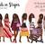 Watercolour fashion illustration clipart - Girls in Stripes - Dark Skin