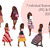 Watercolour fashion illustration clipart - Girls in Stripes - Dark Skin